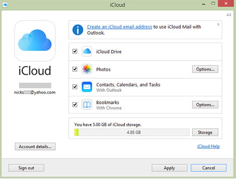 enabling iCloud drive for PC