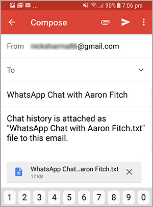 enter email ID to email WhatsApp chats
