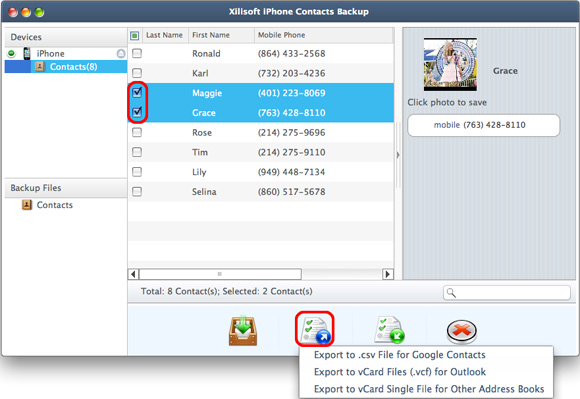copy iphone contacts to mac