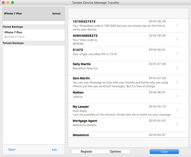 run iphone SMS to mac transfer