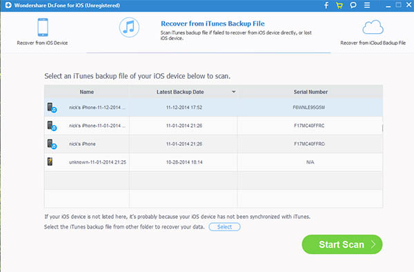 scan iTunes backup for deleted whatsapp messages
