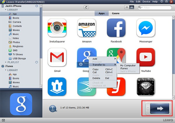 transfer apps from iPhone to computer or iTunes