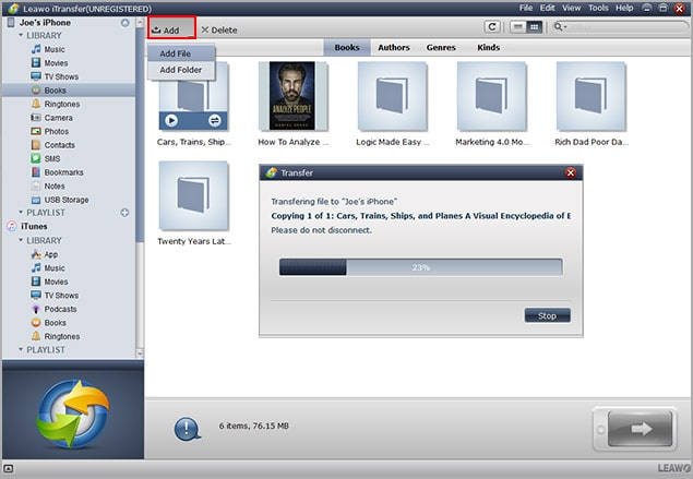 select eBooks and transfer to your iPad or iPhone