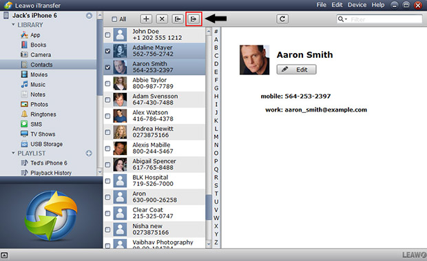 exporting iPhone contacts to computer