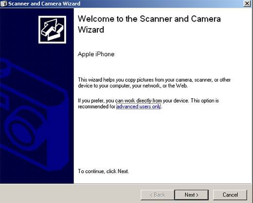 windows xp camera and scanner wizard