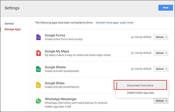 disconnect WhatsApp from Google Drive